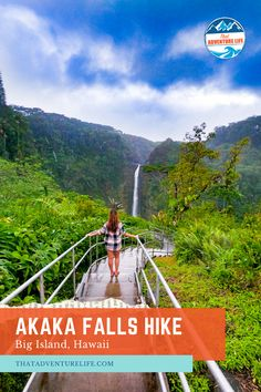 Akaka Falls Hike on Big Island, Hawaii by That Adventure Life. An easy hiking trail to Akaka Falls with amazing view of the tropical forest surrounding a 442ft tall waterfall on the Big Island. This is one thing to do on Big Island that any adventurer will love. This is a must-see waterfall on the island. For travel inspiration for your next adventure - check out our blog. Life Is An Adventure, Adventure Travel, Hawaii Hikes, Trail Guide, Us Travel Destinations, Tropical Forest, Big Island Hawaii, Beautiful Waterfalls, Best Hikes