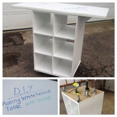 DIY Rolling Cart/Table with a whiteboard surface - Flexible Seating, students can stand around the cart, or use the bar stools