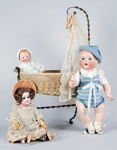 Baby doll No 518/9k and dolls with bisque heads, made by Armand Marseille, ca 1930, Germany, 20th century