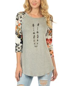 Love this Gray Floral-Sleeve Tunic by Goo Yoo on #zulily! #zulilyfinds