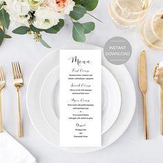 Menüvorlage Rose Gold Rose Gold Hochzeit Karte Menüvorlage | Rose ...