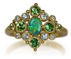 Gold Black Opal Green Garnet Blue Topaz , Peridot Diamond RingK18YG製ブラックオパール・グリーンガーネット・ブルートパーズ・ペリドット・ダイアモンドリング