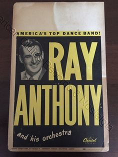 Ray Anthony His Orchestra Early 1950s Boxing Style Concert Poster RARE | eBay