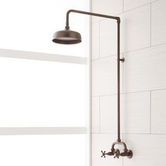 Home Remodel Tips Signature Hardware 922235 Baudette Exposed Wall Mounted Shower with Rainfall Sho Oil Rubbed Bronze Faucet Shower System Double Handle Oil Rubbed Bronze Faucet, Brushed Nickel Faucet, Shower Fixtures, Shower Faucet, Bathroom Faucets, Shower Bathroom, Small Bathroom, Basement Bathroom, Peach Bathroom