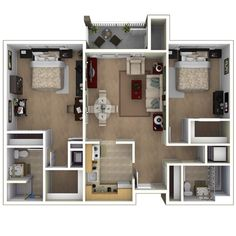 800 square foot 2 bedroom split floor plan apartment - Google Search