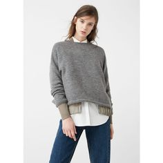 MANGO Ribbed Edges Sweater (€62) ❤ liked on Polyvore featuring tops, sweaters, medium heather grey, cable sweaters, cable-knit sweater, mango tops, knit sweater and long sleeve cable knit sweater
