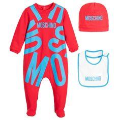 Moschino Baby - Red 3 Piece Babygrow Gift Set | Childrensalon