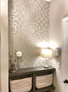28 Bathroom Wall Decor Ideas to Increase Bathroom's Value Painted accent wall ideas on a budget using easy DIY wall stencil patterns from Cutting Edge Stencils Wallpaper Accent Wall Bathroom, Bathroom Wall Decor, Bedroom Decor, Paint Bathroom, Bathroom Ideas, Master Bathroom, Glam Wallpaper, Bathrooms Decor, Office Wallpaper