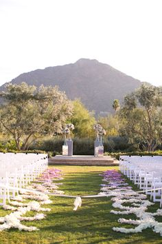 Elegant outside wedding ceremony. @weddingchicks