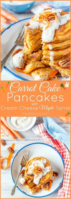 Carrot Cake Pancakes with Cream Cheese-Maple Syrup are a perfect and healthy breakfast yet they taste like dessert. Packed with carrots, oats and yogurt they will satisfy even picky eaters. Serve them for Easter breakfast or any special weekend treat   Imagelicious