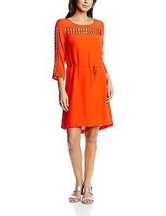 10, Red - Rouge (Rouge/Orange), Morgan Women's 161-ribs.p 3/4 Sleeve Dress NEW