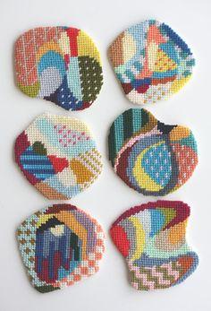 needlepoint coasters from CRESUS artisanat http://www.etsy.com/shop/CresusArtisanat  #patterns #crafts