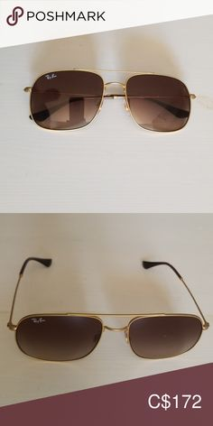 Ray Ban -Andrea Sunglass Modified Aviator with Brown Gradient tint Ray-Ban Accessories Sunglasses Ray Ban Gold, Man Ray, Sunglasses Accessories, Ray Bans, Man Shop, Brown, Closet, Things To Sell, Style