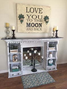 Dresser top / hutch with mirror repurposed as a display shelf ~ could be used as a fireplace mantle too!
