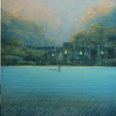 "Philippe Charles Jacquet, Un village, 2014, Oil On Board, 47"" x 47"" #art #surreal #axelle #twilight #water #landscape #architecture"