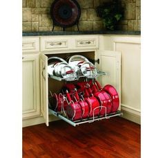 Rev-A-Shelf Two-Tier Chrome Cookware Organizer 20 Best Kitchen Cabinet Ideas fo. Rev-A-Shelf Two-Tier Chrome Cookware Organizer 20 Best Kitchen Cabinet Ideas for A Modern Classic Look Small Kitchen Organization, Diy Kitchen Storage, Organization Ideas, Diy Storage, Clothes Storage, Storage Design, Cool Storage Ideas, Food Storage, Organized Kitchen