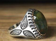 925 K Sterling Silver Man Ring Green Jasper 9 US Size B21-65145