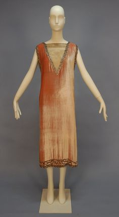 Beaded velvet dress with metallic lace, c.1920