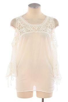 3/4 Sleeve Cold Shoulder Crochet Top