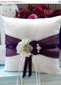 SALE Ring Bearer Pillow  / Plum Ring Bearer by CutieButtsBoutique, $28.49
