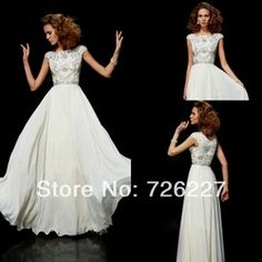 Online Shop Gorgeous A-line Scoop Cap Sleeves White Custom Made Plus Size with Crystals Beaded 2014 Long Modest Prom Dresses with Sleeves |A...