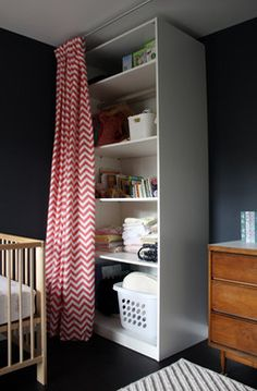 Hide storage areas with ceiling mounted curtains modern kids by Studio Zerbey Architecture + Design Kitchen Curtain Designs, Modern Kitchen Curtains, Small Space Living, Small Spaces, Cheap Home Decor, Diy Home Decor, Peaceful Bedroom, Shared Bedrooms, Home Decor Bedroom