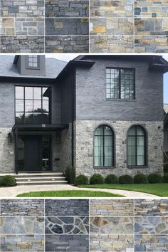 Beautiful Modern Farmhouse Exterior Design Ideas ~ Best Dream Home Stone Exterior Houses, Dream House Exterior, Exterior House Colors, Stone Houses, Exterior Design, Stone Veneer Exterior, Exterior Signage, Exterior Paint, Stone Gallery