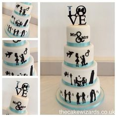 red black and white wedding cakes - Google Search