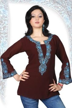 Dark brown long sleeves Kurti/Tunic with heavy embroidery $57.67 (save $42.32) + Free Shipping