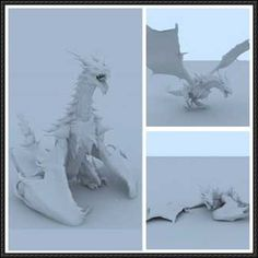 Dragon (3 Poses) Free Papercraft Download - http://www.papercraftsquare.com/dragon-3-poses-free-papercraft-download.html