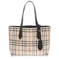 53e991b4748a SALE PRICE -  599.99 - Burberry Women s Small Reversible Handbag in  Haymarket Check and Leather Black