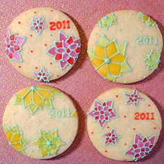 New year cookies flower pattern