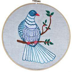 Kereru embroidery pdf embroidery pattern from The Stitchsmith Cross Stitch Bird, Cross Stitching, Cross Stitch Embroidery, Pdf Patterns, Embroidery Patterns, Needlework, Birds, Crafty, Wall Art