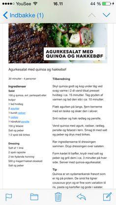 Aftensmad tilbehør kød sommer Agurkesalat agurk salat quinoa radiser bøf grill