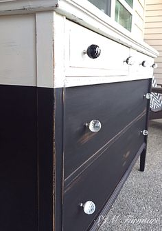 Black and white antique dresser painted with chalk paint, lightly distressed and waxed. New sparkly knobs. Perfection! By SJM Furniture