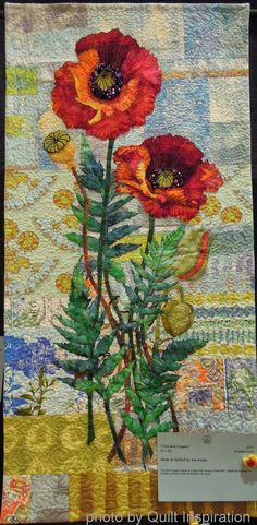 "Two Red Poppies, 22 x 46"", by Jan Soules. Highlights of the 2014 River City Quilters' Guild Show, photo by Quilt Inspiration"