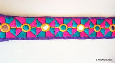 Purple Mirrored Fabric Trim With Yellow Fuchsia by KnicKnackNook
