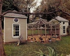 Lovely twin hen house with patio