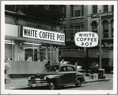 White Coffee Pot 301 West Baltimore Street, Baltimore, Maryland Not dated (ca. 1956 - The Greatest Year Ever) Cronhardt & Sons 8x10 inch gelatin silver print Triangle Sign Company Collection