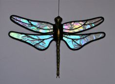 Stained Glass DRAGONFLY Suncatcher Clear by stainedglasswhimsy, $20.00