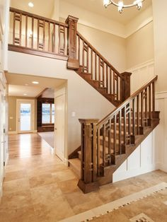 Northern Wasatch Parade of Homes 2011 – staircase Wooden Staircase Railing, Craftsman Staircase, Stair Railing Design, Craftsman Interior, Home Stairs Design, House Design, Staircase Remodel, Main Door Design, Home Inc