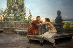 Ulpiano Checa, Lovers in Pompei. Oil on canvas, ~ETS Nc Wyeth, Romantic Scenes, Amazing Paintings, Ancient Rome, Italian Style, Character Illustration, Romans, Oil On Canvas, Fine Art