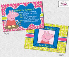 Peppa Pig Invitation  Digital File van MetroEvents op Etsy, $9.98