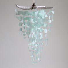 Sea Glass & Starfish Mobile - Seafoam Chandelier