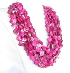 Fuchsia Pink Mother of Pearl Nugget Necklace by Wildflowers And Grace, $125.00