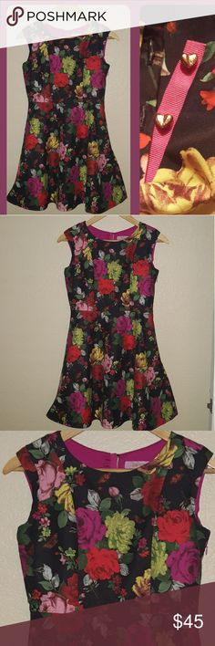"""FLIRTATIOUS Floral flare Dress - Size S ° Bright and colorful BLOOMS!!   ° Such feminine and pretty floral dress.   ° Two golden heart shaped buttons on back.  ° Fully lined - 100% Polyester. Zipper on side.  ° 31""""  Long ° 28-29 Waist ** IN NEW CONDITION ** Ted Baker Dresses Midi"""