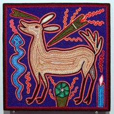 """The Deer God (#HC0802) Huichol yarn painting by unknown artist Nayarit, Mexico, c. 2007 Yarn pressed into beeswax on plywood (12"""" x 12"""")  $175"""