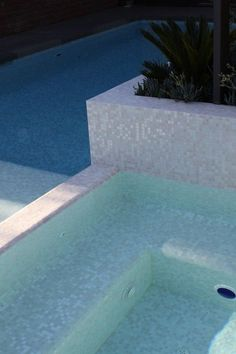 Mixed White Cloud glimmer glass mosaic pool tile
