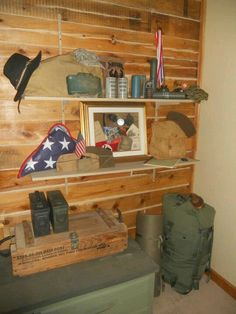 Great-great uncle's WWII memorabilia in my son's military bedroom.