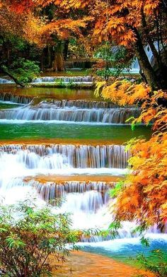 Every man can transform the world from one of monotony and drabness to one of excitement and adventure. Beautiful Nature Pictures, Amazing Nature, Nature Photos, Beautiful Landscape Wallpaper, Beautiful Landscapes, Landscape Photography, Nature Photography, Waterfall Wallpaper, Autumn Scenery